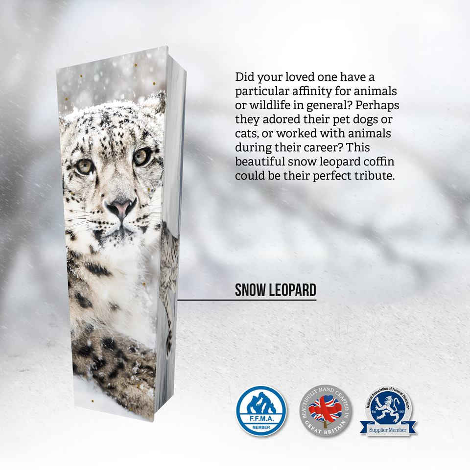 Snow Leopard Themed Coffin