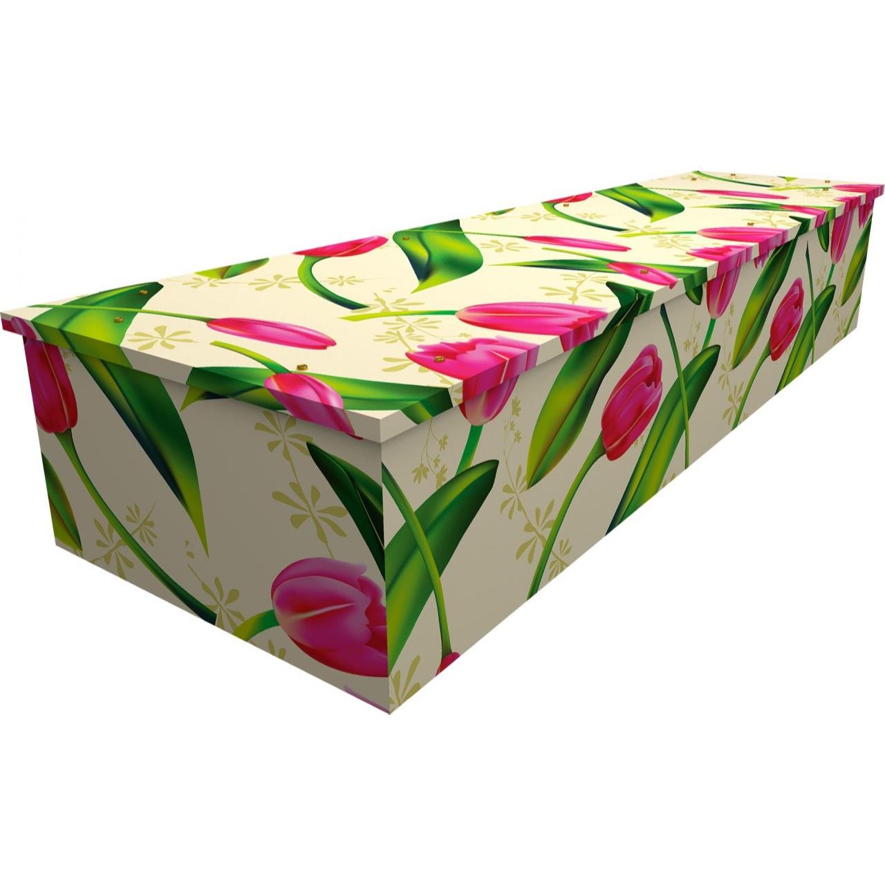 Tulip Pattern Cardboard Coffin