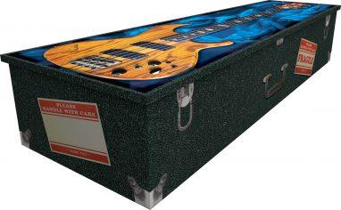 bespoke coffin, cardboard coffin, printed coffin, picture coffin, rock music coffin, music coffin, bass guitar coffin, electric guitar coffin, guitar coffin